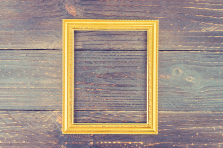 Frame On Wooden Background   Vintage Style Effect Picture Stock Photo    33157259