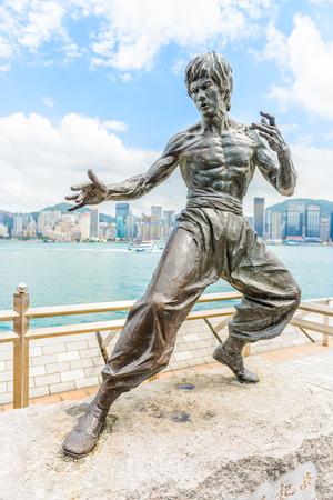 HONG KONG, CHINA - August 14: Bruce Lee statue at the Avenue of Stars on August 14, 2014, Hong Kong, China.