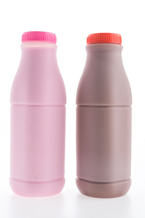 Strawberry milk and Chocolate milk isolated on white background Stock Photo
