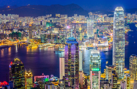 HONG KONG -August 8: Scene of the Victoria Harbour on August 8, 2014 in Hong Kong. Victoria Harbour is the famous attraction place for tourist to visit. Editorial