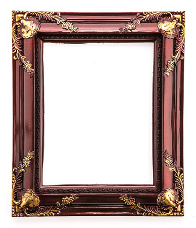 gold picture frame: Wooden frame isolated on white background Stock Photo