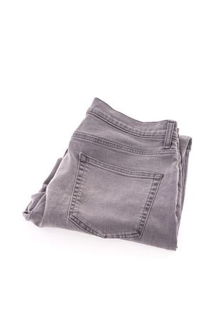 capri pants: Jeans isolated on white background Stock Photo