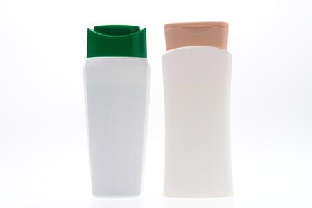shampoo bottles: Plastic shampoo bottles isolated on white background