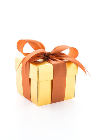birthday gift: Gold gift box isolated on white background