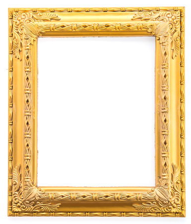 gold picture frame: Gold frame isolated on white background