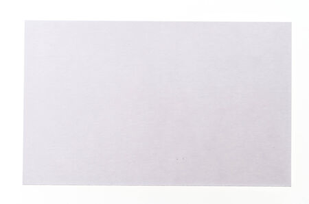 notecard: Blank white card isolated on white background Stock Photo