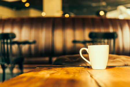 coffee and tea: Latte Coffee cup in coffee shop - Vintage Retro effect style pictures Stock Photo