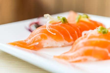 SUSHI: Raw Salmon rice sushi - japanese food - selective focus point Stock Photo