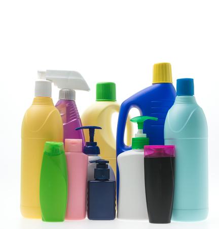 Plastic bottles isolated on white background photo