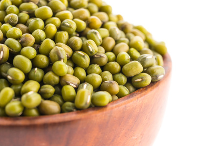 Mung Bean in bowl isolated on white background photo