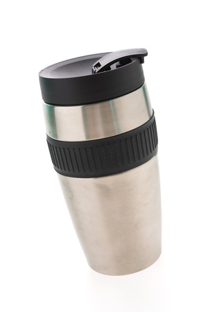 vaccuum: Coffee vaccuum flask stainless steel bottle isolated on white background