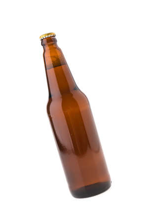 dew cap: Beer bottle isolated on white background