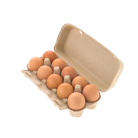 Egg box isolated on white background photo