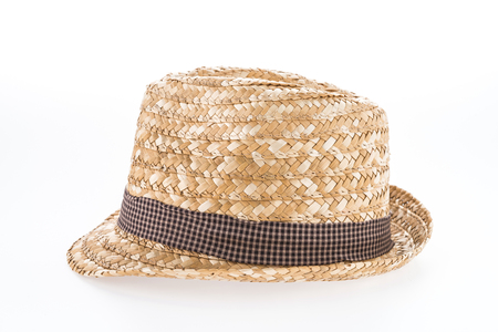 stetson: straw hat isolated on white background Stock Photo