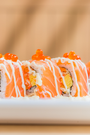philadelphia roll: Salmon sushi roll - selective focus