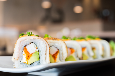 food plate: Sushi roll healthy food - japanese food style