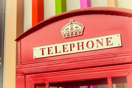 Telephone sign - vintage effect style pictures photo