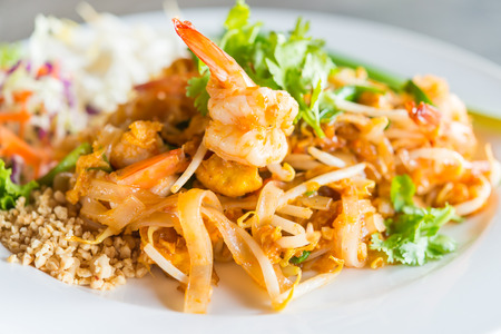 Pad thai noodles in white plate - thai food