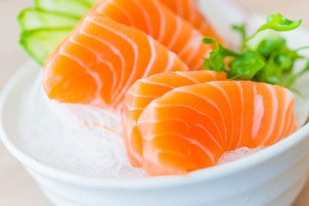 food  white: Salmon sashimi - japanese food style Stock Photo
