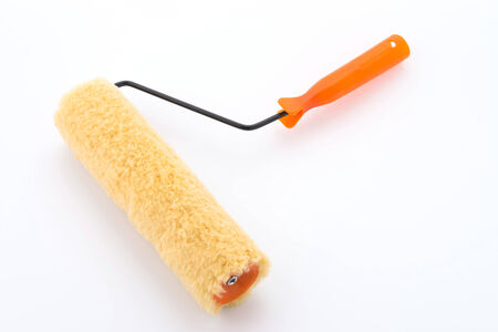 roller brush: Paint roller brush isolated on white background