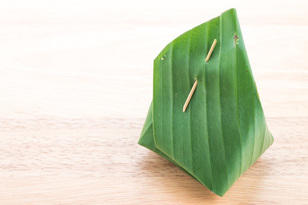 sticky: Banana leaf packaging sticky rice