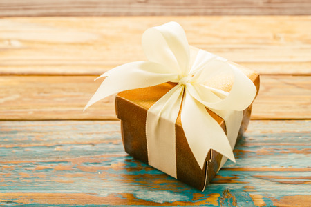 Gift Box On Wooden Background   Vintage Effect Style Pictures Stock Photo,  Picture And Royalty Free Image. Image 36005202.