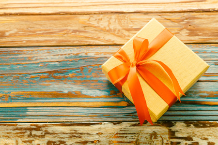 Gift Box On Wooden Background   Vintage Effect Style Pictures Stock Photo    36298439