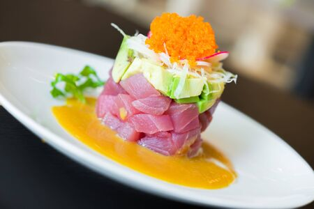 ahi: Raw Tuna tartar japanese food style