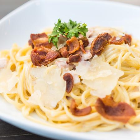 carbonara: Spaghetti carbonara Stock Photo
