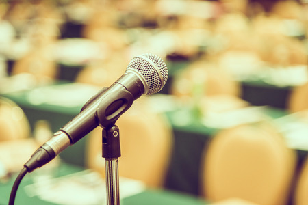 microphone: Selective focus point on Microphone in meeting room - vintage effect style pictures