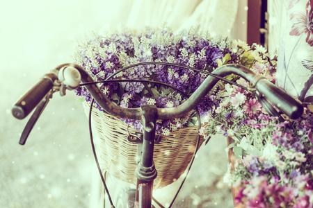 bicyclette: Soft focus sur une fleur d'hiver v�lo - effet vintage et la neige Banque d'images