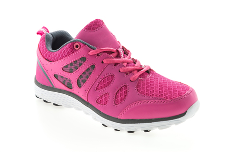 athletic wear: Pink Sport running shoes isolated on white background Stock Photo