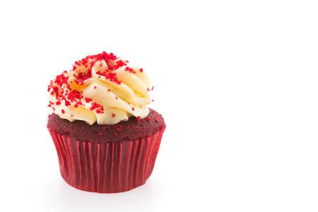 red velvet cupcake: Red velvet cupcake isolated on white