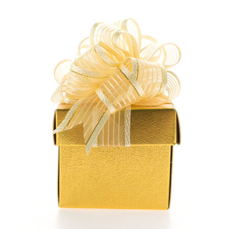 Christmas Gold gift box isolated on white background