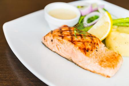 salmon steak: Salmon fish fillet grilled steak