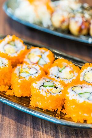 california roll: California roll maki - japanese food