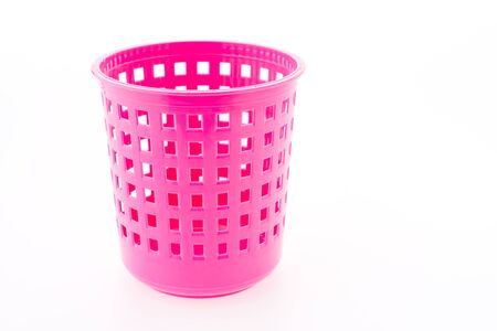 Plastic basket isolated on white background photo