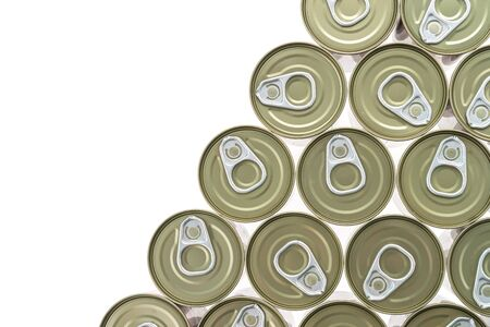 aluminum cans: Top of view aluminum cans isolated on white background