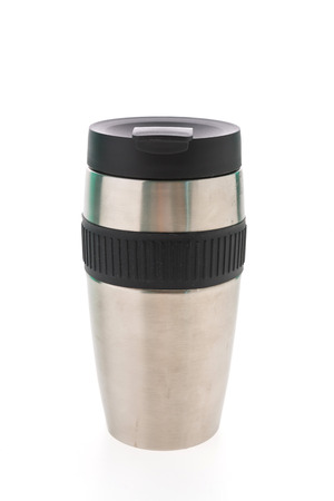 thermos: Coffee thermos stainless steel bottle isolated on white background Stock Photo