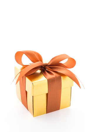 gold gift box: Gold gift box isolated on white background