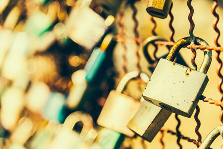 door lock love: Love symbol key padlock - vintage effect filer