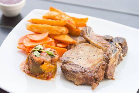 chop: Pork chop meat steak Stock Photo