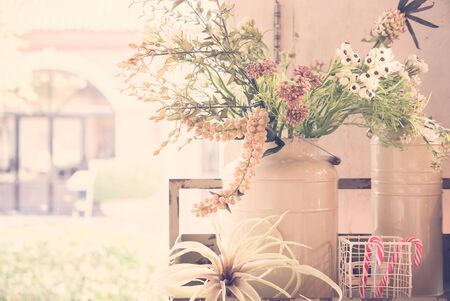 Vintage white flower in vase - vintage filter photo