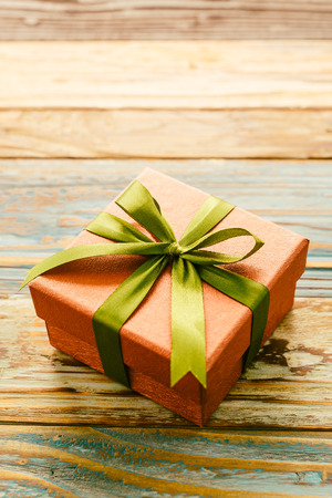 Gift Box On Wooden Background   Vintage Effect Style Pictures Stock Photo    38051842