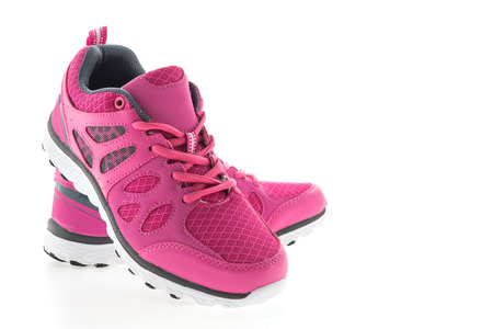 Pink Sport running shoes isolated on white background Standard-Bild