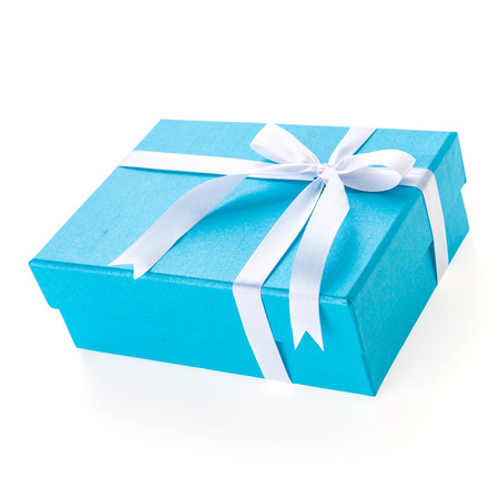 Christmas Blue gift box isolated on white background Stock Photo