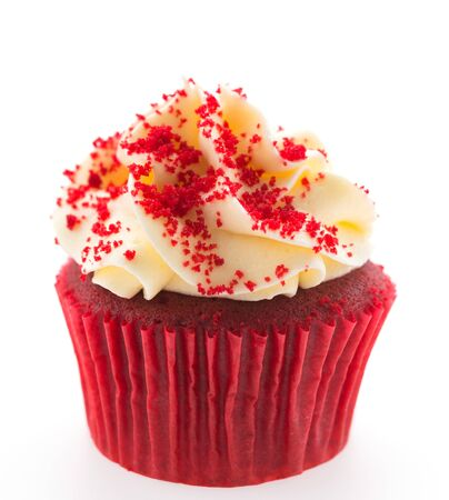 cupcakes isolated: Red velvet cupcakes isolated on white Stock Photo