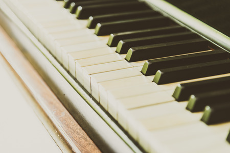 old keys: Selective focus point Piano keys - vintage filter
