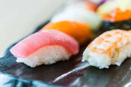 focus shot: Nigiri sushi japanese food style - selective focus shot - process soft effect style pictures
