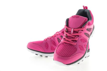 personas corriendo: Rosa Zapatillas de deporte aisladas en el fondo blanco